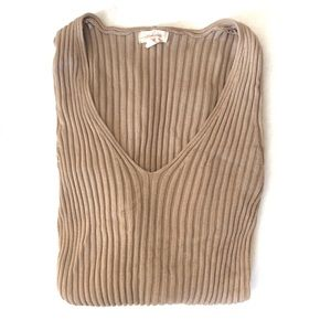 Ambiance Beige Ribbed Long Sleeve Top